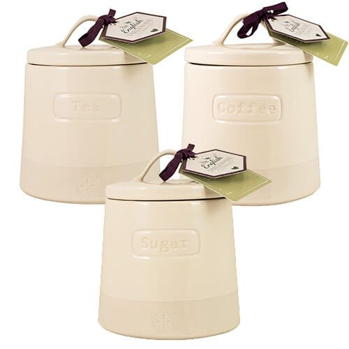 English Tableware Company Artisan Cream Tea, Coffee & Sugar Canister 3 Piece Set