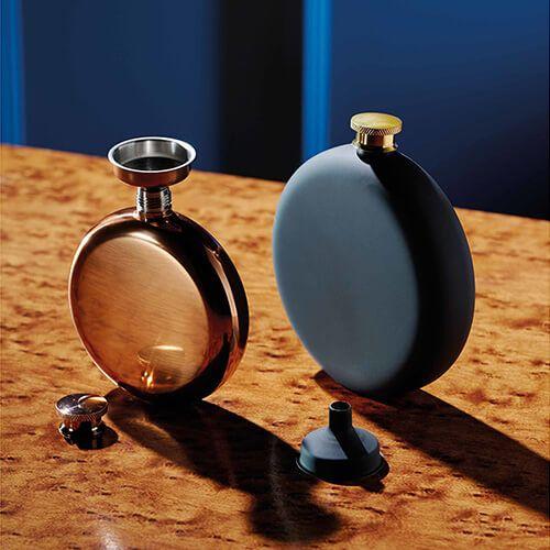 BarCraft Hip Flask and Funnel Set 350ml Black