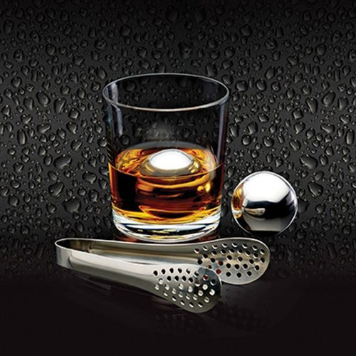 BarCraft Stainless Steel Set Of 2 Ice Balls & Tongs