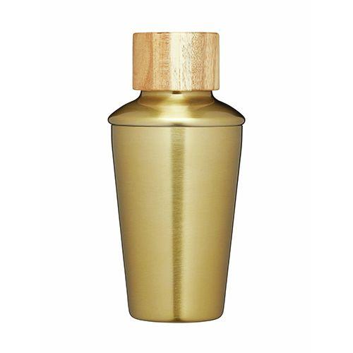 BarCraft Brass Finish Mini Cocktail Shaker
