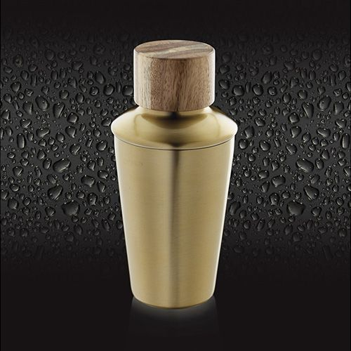 BarCraft Brass Finish Mini Cocktail Shaker