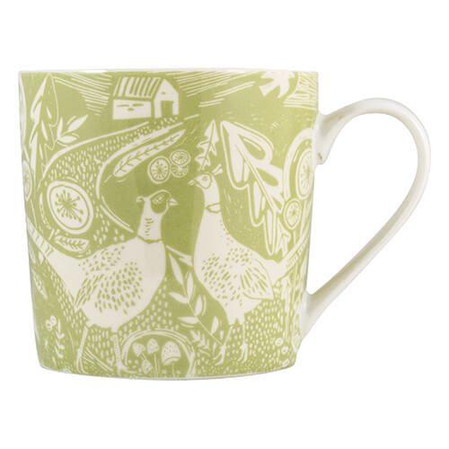 English Tableware Company Artisan Fine China Green Pheasant Mug