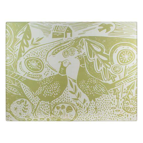 English Tableware Company Artisan Green Pheasant Glass Worktop Saver