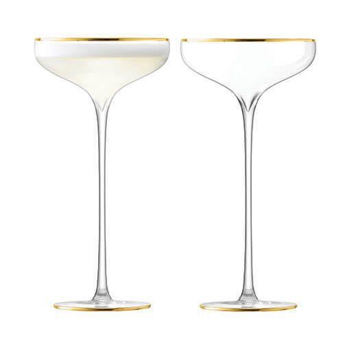 LSA Celebrate Gold Champagne Saucer 250ml Set Of 2