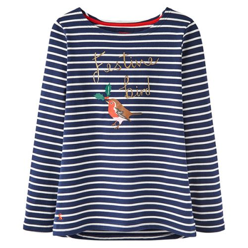 Print French Long Navy Sleeve Jersey Festive Harbour Joules Top Ywgfq5n