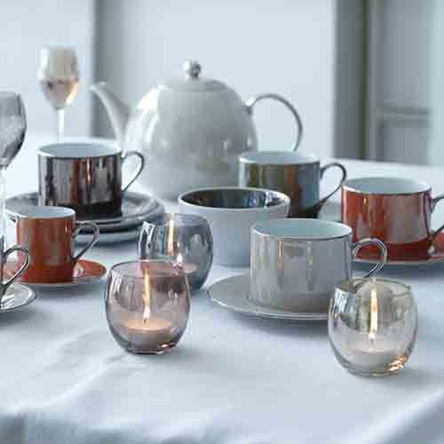 LSA Polka Metallics Tea Cup & Saucer 250ml Set Of Four