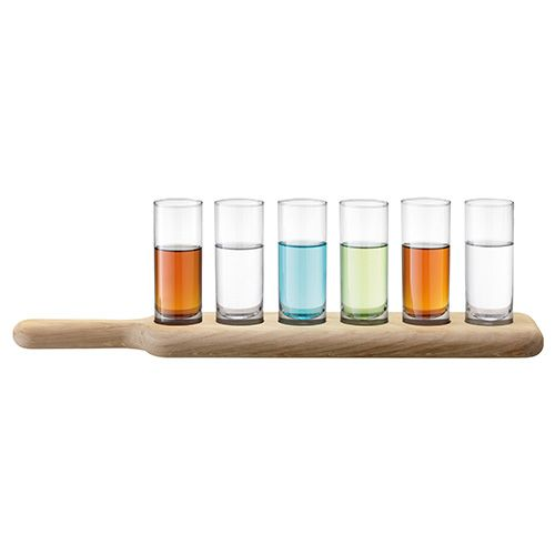 LSA Paddle Vodka Set & Oak Paddle 40cm Clear