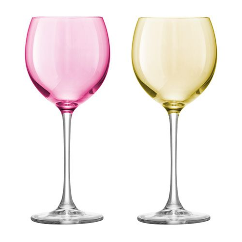 LSA Polka Pastel Wine Glass 400ml Set Of Four