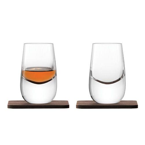 LSA Whisky Islay Shot Glass 80ml Clear With Walnut Coaster Set Of 2