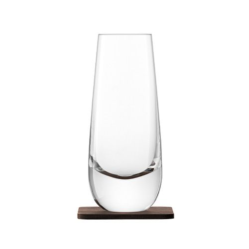 LSA Whisky Islay Mixer Glass 325ml Clear With Walnut Coaster Set Of 2