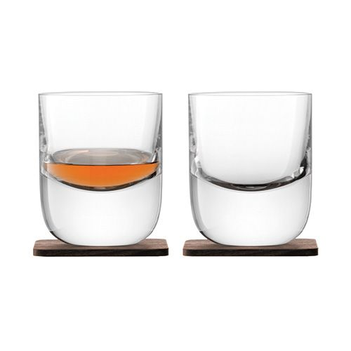 LSA Whisky Renfrew Tumbler 270ml Clear With Walnut Coaster Set Of 2