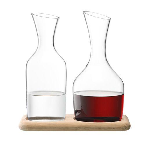 LSA Wine Water & Wine Carafe Set & Oak Base 1.2L / 1.4L