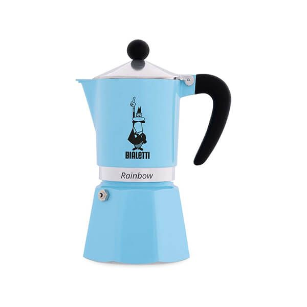 Bialetti Rainbow 3 Cup Coffee Maker Light Blue