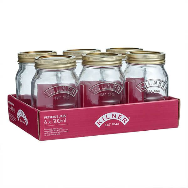 Kilner Set Of 6 Preserve Jar 0.5 Litre