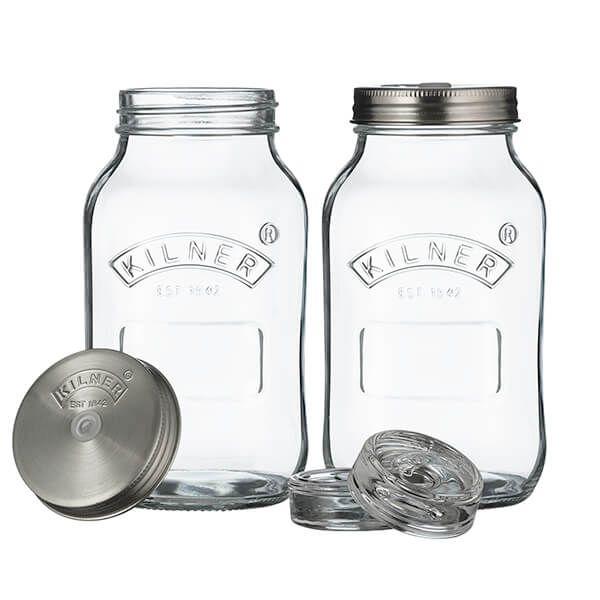 Kilner Set of 2 1L Fermentation Jars