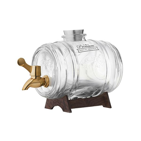 Kilner Barrel Drinks Dispenser With Brass Tap 1 Litre