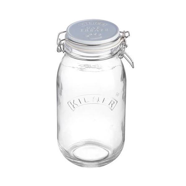 Kilner 2 Litre Ceramic Lid Round Clip Top Cat Treats Jar