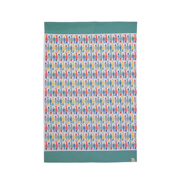 Seasalt Schooling Fish Cotton Tea Towel