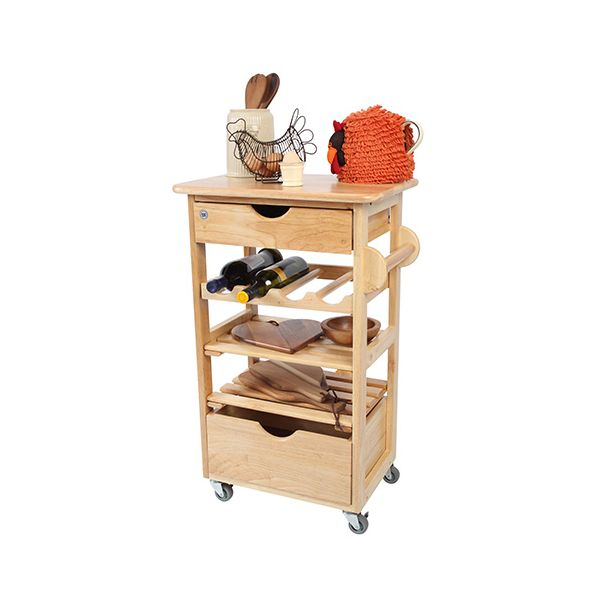 T & G Hevea Wood Compact Kitchen Trolley Flat Packed