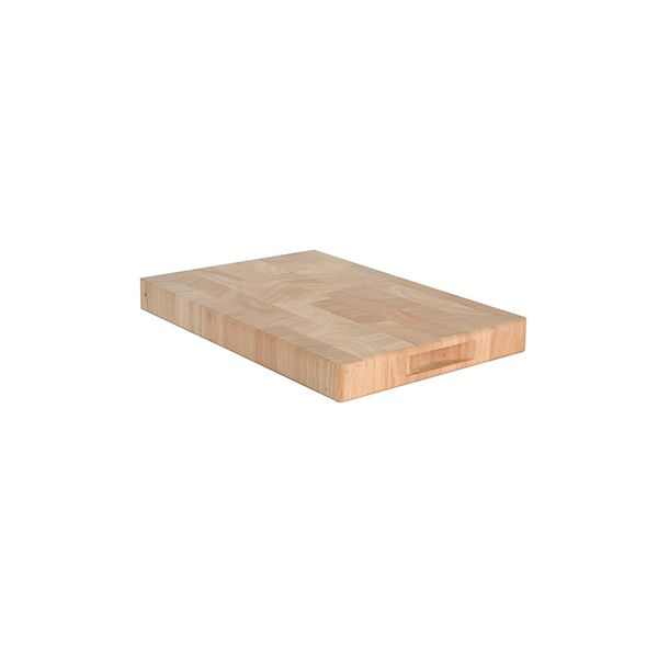 T&G Hevea End Grain Medium Rectangular Chopping Board With Finger Grooves