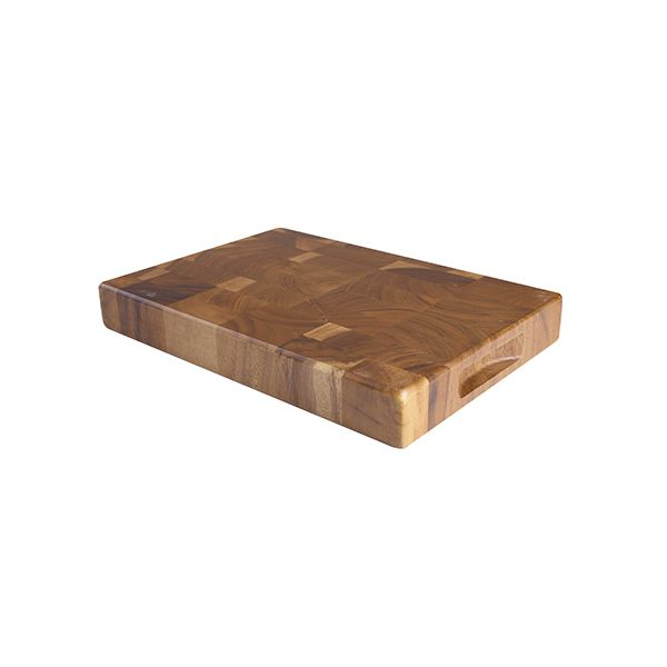 T&G Acacia End Grain Tuscany Medium Rectangular Chopping Board With Finger Grooves