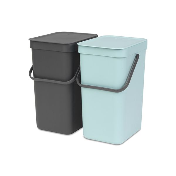 Brabantia Sort & Go Waste Bin 12 Litre Set Of 2 Mint & Grey