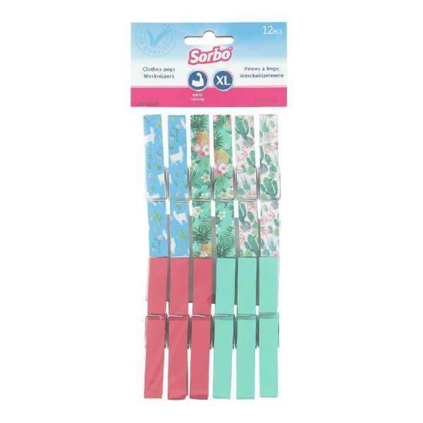 Sorbo Pack of 12 Pegs in Botanic Print