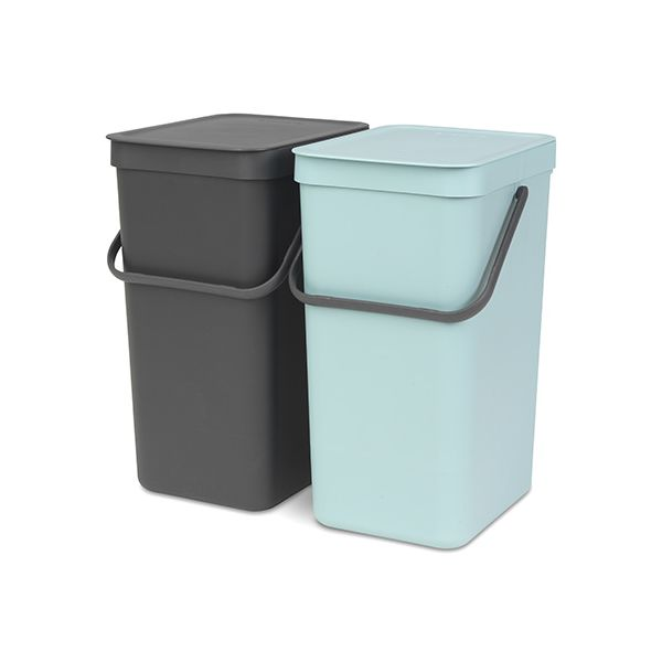 Brabantia Sort & Go Waste Bin 16 Litre Set Of 2 Mint & Grey