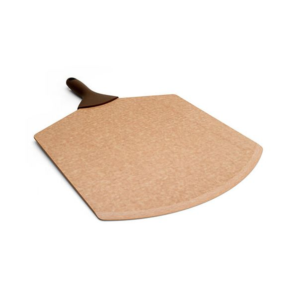 """Epicurean Signature Wood Composite 21"""" x 14"""" Natural Pizza Peel With Brown Silicone Handle"""