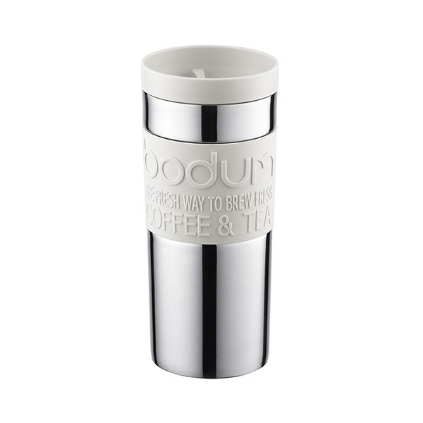 Bodum Travel Mug Stainless Steel Twist Lid Off White