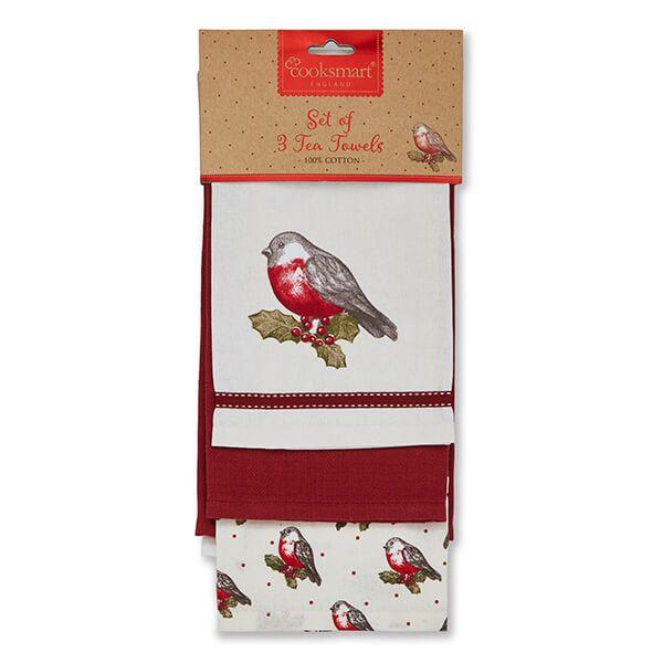 Cooksmart Red Red Robin Set Of 3 Tea Towels