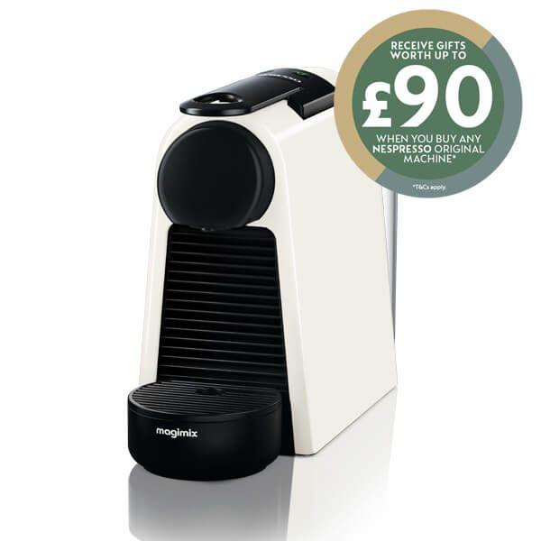 Magimix Nespresso Essenza Mini Pure White Coffee Machine with FREE Gift