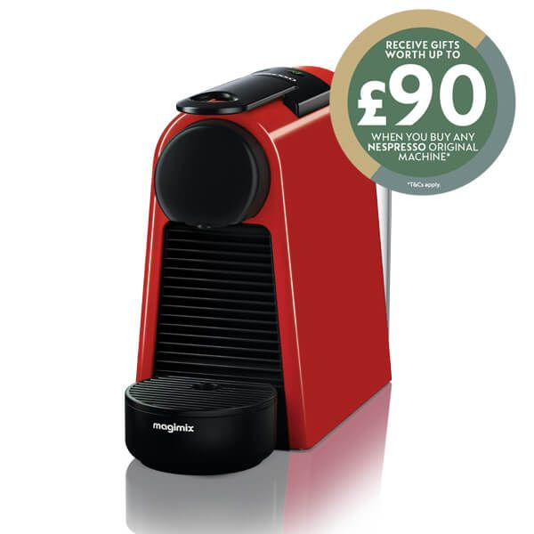 Magimix Nespresso Essenza Mini Ruby Red Coffee Machine with FREE Gift