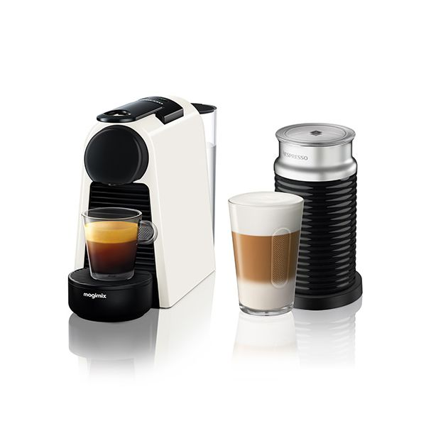 Magimix Nespresso Essenza Mini Pure White and Aeroccino Coffee Machine
