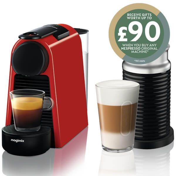 Magimix Nespresso Essenza Mini Ruby Red and Aeroccino Coffee Machine with FREE Gift