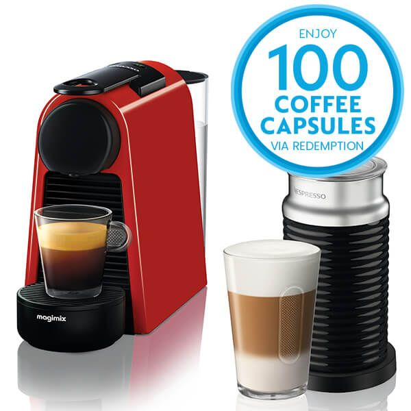 Magimix Nespresso Essenza Mini Ruby Red and Aeroccino Coffee Machine with FREE Gift