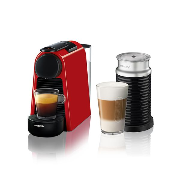 Magimix Nespresso Essenza Mini Ruby Red and Aeroccino Coffee Machine