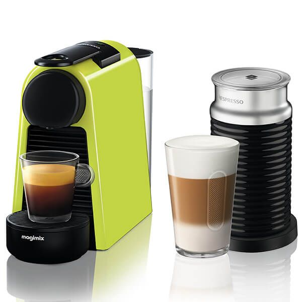 Magimix Nespresso Essenza Mini Lime Green and Aeroccino Coffee Machine