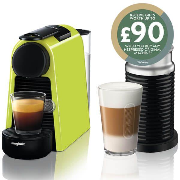 Magimix Nespresso Essenza Mini Lime Green and Aeroccino Coffee Machine with FREE Gift