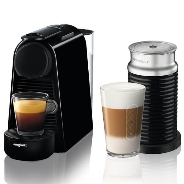 Magimix Nespresso Essenza Mini Black and Aeroccino Coffee Machine