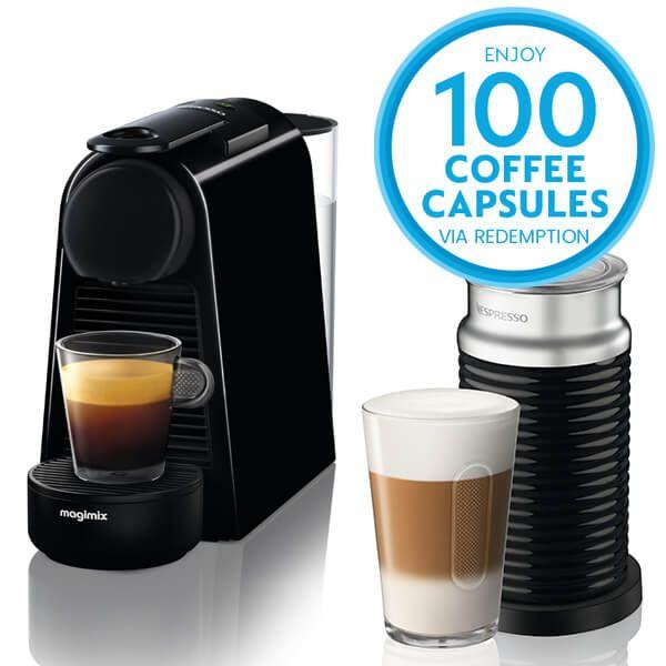 Magimix Nespresso Essenza Mini Black and Aeroccino Coffee Machine with FREE Gift