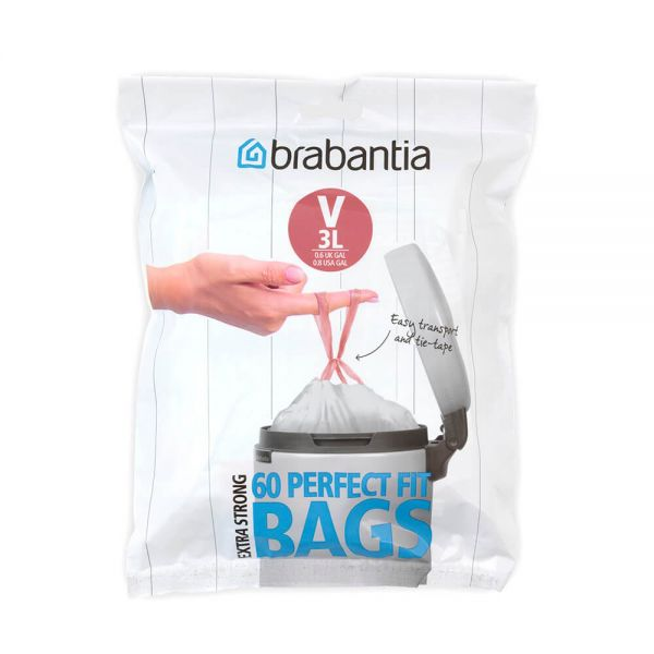 Brabantia Perfectfit Bags Size V 3 Litre 60 Bag Dispenser Pack