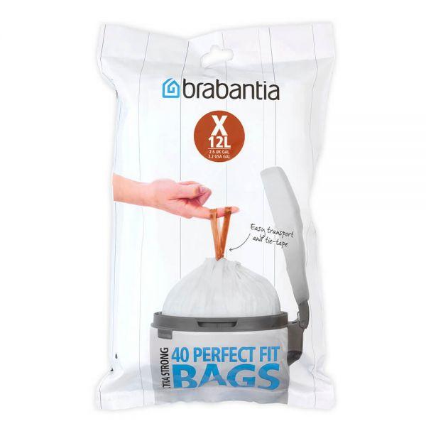 Brabantia Perfectfit Bags Size X 10-12 Litre 40 Bag Dispenser Pack