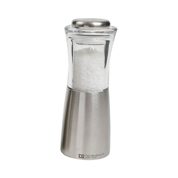 T&G CrushGrind Apollo Brushed Stainless Steel and Acrylic Salt Mill