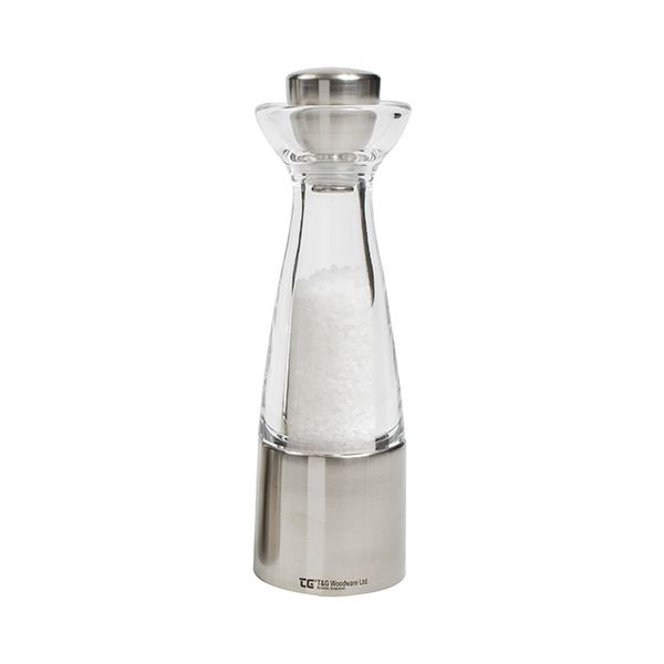 T&G CrushGrind Stockholm Brushed Stainless Steel and Acrylic Salt Mill