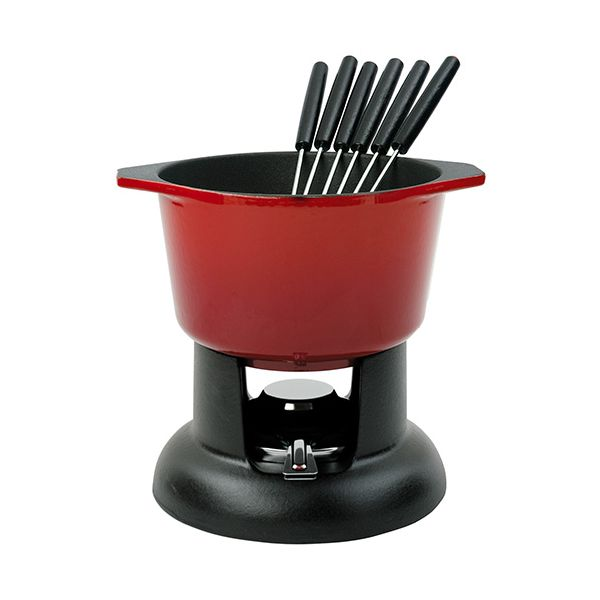 Chasseur Cast Iron Chilli Red Fondue Set
