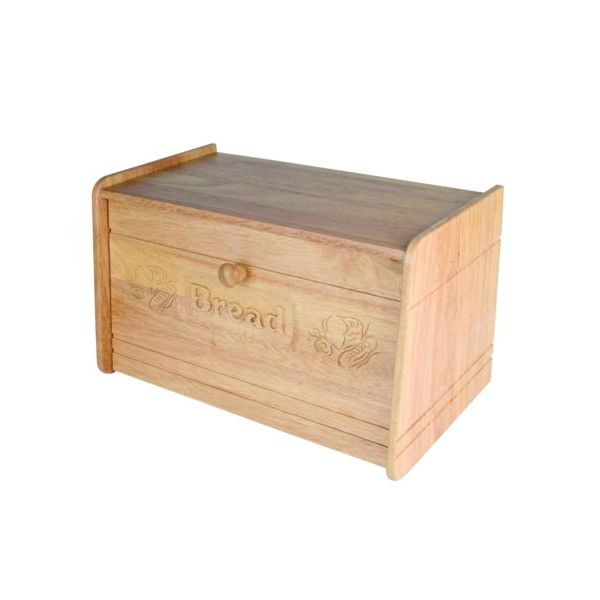 Rubber Wood Carved Bread Bin