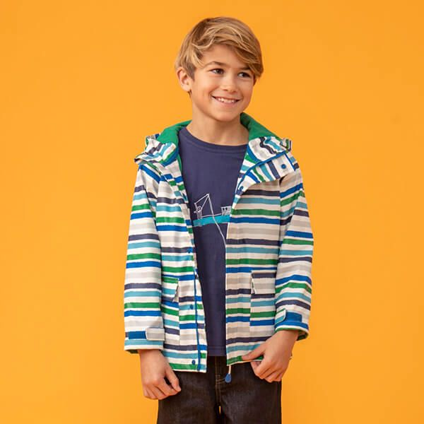 Lighthouse Ocean Blue Pea Green Stripe Anchor Jacket
