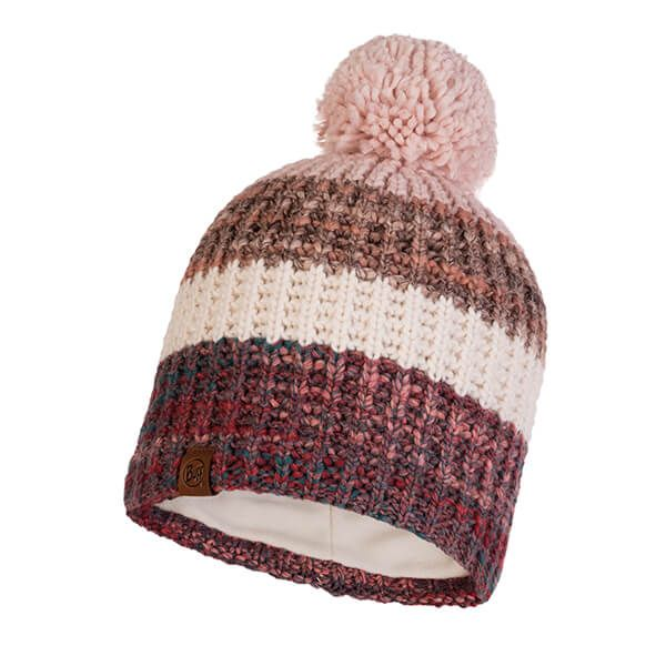 Buff Alina Rusty Blossom Red Knitted & Fleece Band Hat