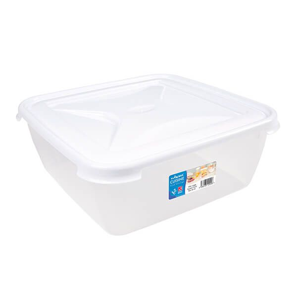 Wham Cuisine 10L Clear & Ice White Large Square Food Box & Lid
